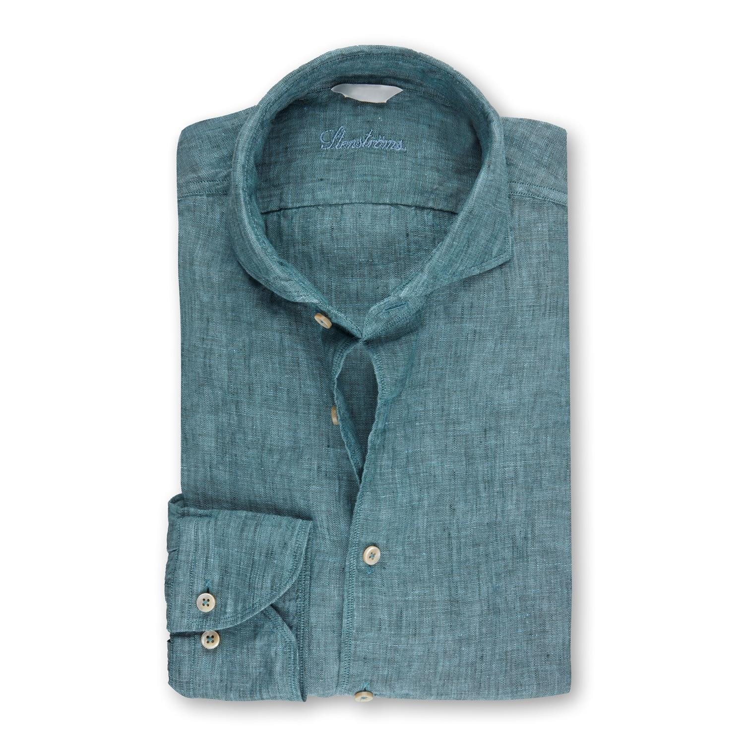 Pale Green Fitted Body Linen Shirt Skjorter Herre